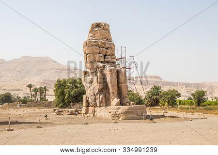 Ancient Colossi Of Memnon In Luxor, Egypt