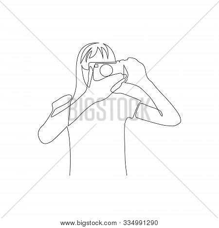 Continuous One Line Woman Takes Pictures On Camera. Front View. Vector Illustration.