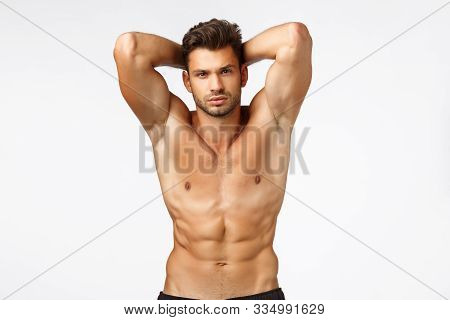 Bodybuilder Goined Movember. Sexy Handsome Tanned Caucasian Man With Bristle, Standing Naked Torso,