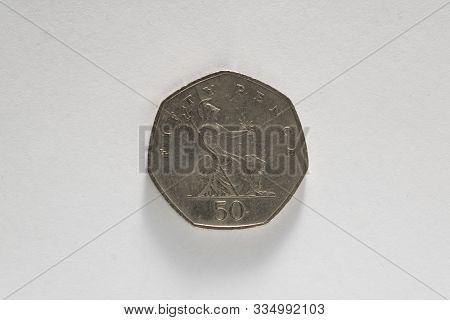 50 Pences Coin On White Background (u.k. Currency)