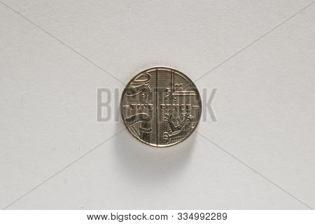 Single Five British Pence Coin Isolated On White Background
