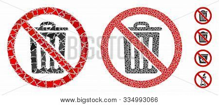 No Dustbin Mosaic Of Bumpy Elements In Different Sizes And Shades, Based On No Dustbin Icon. Vector