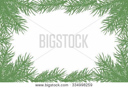 Background Of Silhouettes Of Fir Tree Branches. Vector Illustration. Applied Clipping Mask.