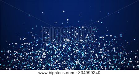 Beautiful Falling Snow Christmas Background. Subtle Flying Snow Flakes And Stars On Dark Blue Night