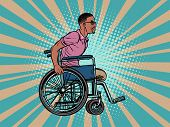 legless african man disabled veteran in a wheelchair. pop art retro vector illustration kitsch vintage drawing 50s 60s poster