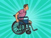 legless man disabled veteran in a wheelchair. pop art retro vector illustration kitsch vintage drawing 50s 60s poster