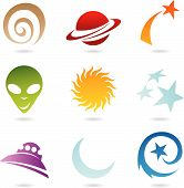 a set of fun space icons isolated on white poster