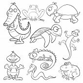 Outlined cute cartoon reptiles and amphibians for coloring book poster