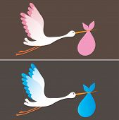 A cartoon illustration of a stork delivering a newborn baby girl and boy poster