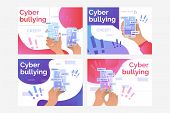Set of illustrations of person receiving nasty messages via net. Abuse, victim. Flat vector. Cyber bulling concept for banner, website design or landing web page poster