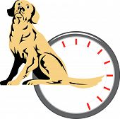 Vector art of dog with meter isolated on white poster