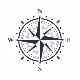 Compass Graphic Icon. Wind Rose Sign. Compass Symbol Isolated On White Background. Vector Illustrati