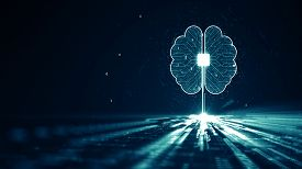 Technology Artificial Intelligence (ai) Brain Animation Digital Data Concept.