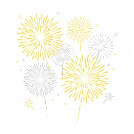 Golden Silver Fireworks. Festive, Victory, Celebrating Vector Background. Firework Isolated On White