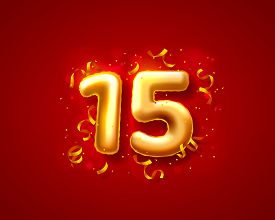 Festive Ceremony Balloons, 15th Numbers Balloons. Vector
