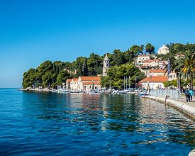 Stock Photo Of The Promenade Of The City Of Cavtat, Croatia. Travel Concept