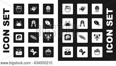 Set Jellyfish, Fish Steak, Crab, Served On Bowl, Tropical, Lobster And Octopus Plate Icon. Vector