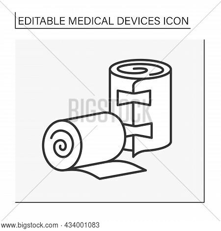 Bandage Line Icon. Strip Of Woven Material. Bind Up Wounds Or To Protect An Injured Part Of The Body