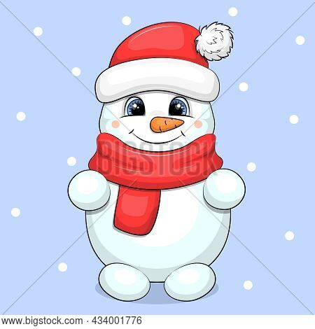 Cute Cartoon Snowman With Red Scarf And Hat. Vector Illustration On A Blue Background With Snow.
