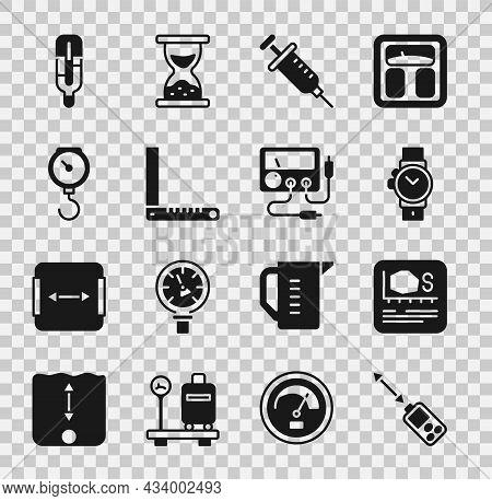 Set Laser Distance Measurer, Area Measurement, Wrist Watch, Syringe, Corner Ruler, Hand Scale Spring
