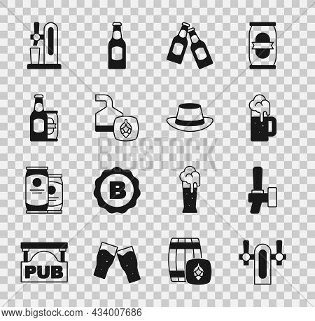 Set Beer Tap, Wooden Beer Mug, Bottle, Brewing Process, And Can, With Glass And Oktoberfest Hat Icon