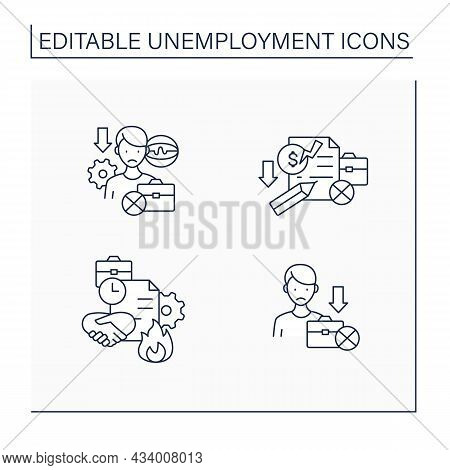 Unemployment Line Icons Set.technological Unemployment, Claim, Fixed-term Contract, Jobless. Jobless