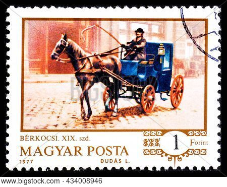 Hungary - Circa 1977: A Stamp Printed In Hungary Showing Horse Drawing A Coach