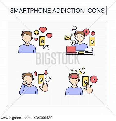 Smartphone Addiction Color Icons Set.virtual Relationship, Information Overload, Boredom. Overwhelme
