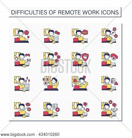 Remote Work Color Icons Set. Distance Work Troubles. Loneliness, Unproductivity. Career Difficulties
