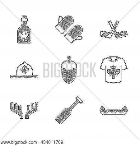Set Acorn, Paddle, Kayak, Hockey Jersey, Deer Antlers, Canadian Ranger Hat, Ice Hockey Sticks And Bo