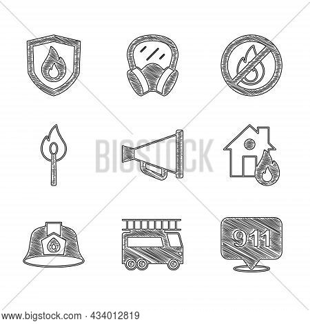 Set Megaphone, Fire Truck, Emergency Call 911, In Burning House, Firefighter Helmet, Burning Match W