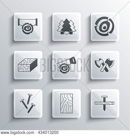 Set Wooden Beam, Metallic Nail, Axe, Hand Saw And Log, Nails, Two-handed And Logs Icon. Vector