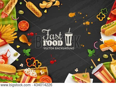 Fastfood Restaurant Colorful Frame Black Background Poster With Popcorn Mustard Saus Hotdogs And Ice
