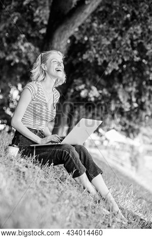 Why Employees Need To Work Outdoors. Girl Laptop Outdoors. Being Outdoors Exposes Workers To Fresher