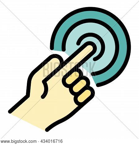 Finger Touch Point Icon. Outline Finger Touch Point Vector Icon Color Flat Isolated