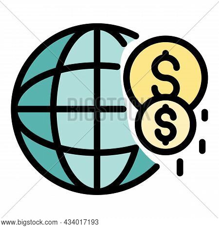 Global Investor Money Icon. Outline Global Investor Money Vector Icon Color Flat Isolated