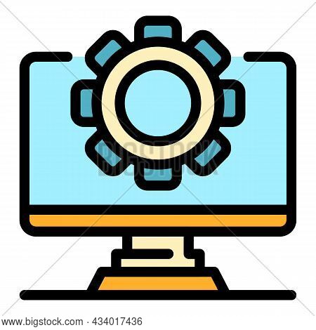 Computer Update Icon. Outline Computer Update Vector Icon Color Flat Isolated