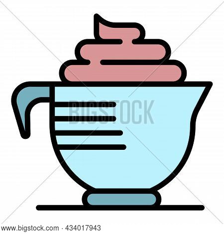Hair Dye Cream Cup Icon. Outline Hair Dye Cream Cup Vector Icon Color Flat Isolated