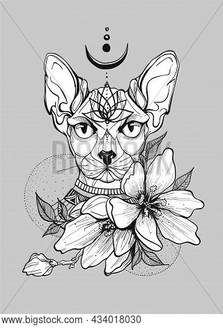 Egyptian Cat Tattoo With Magnolia Flowers For Girl. Hand-draw Tattoo. Traditional Art Tattoo. Flower