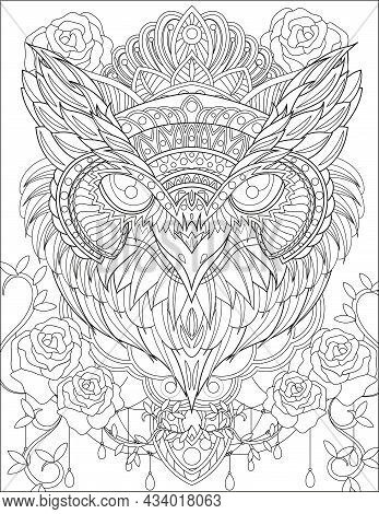 Close Up Owl Head With Crown Surrounding Rose Flowers Vines Colorless Line Drawing. Nightowl With Ti