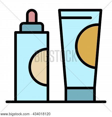 Hair Dye Cream Tube Icon. Outline Hair Dye Cream Tube Vector Icon Color Flat Isolated