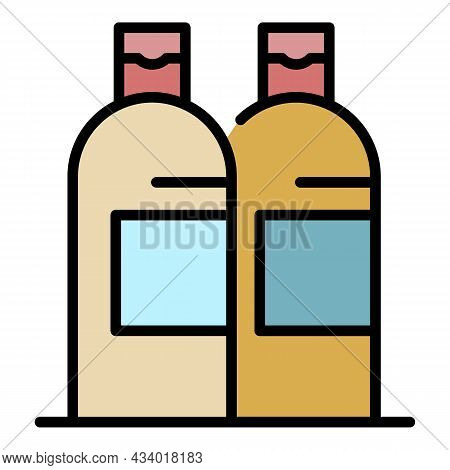 Shampoo Bottles Icon. Outline Shampoo Bottles Vector Icon Color Flat Isolated