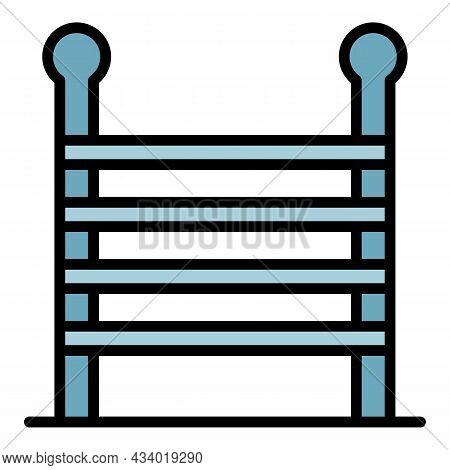 Wood Ladder Icon. Outline Wood Ladder Vector Icon Color Flat Isolated