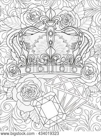 Beautiful Royalty Crown With Jewel Ornaments Beside Large Diamond Gems Flower Background Colorless L