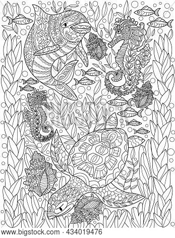 Aquatic Animals Dolphin Seahorse Turtle Fishes With Shells Colorless Line Drawing. Different Ocean C