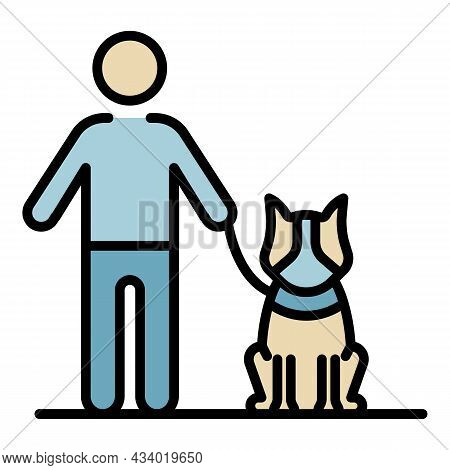 Dog Stay Near Kid Icon. Outline Dog Stay Near Kid Vector Icon Color Flat Isolated