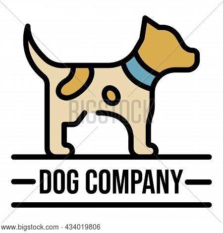 Dog Company Name Logo. Outline Dog Company Name Vector Logo Color Flat Isolated