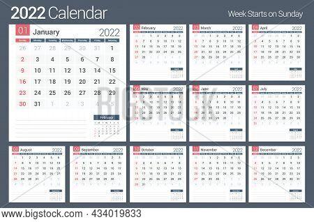 2022 Calendar Template, Planner, 12 Pages, Week Starts On Sunday, Vector Eps10 Illustration