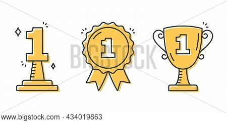 First Place Line Icons - Number One, Medal And Cup, Vector Eps10 Illustration
