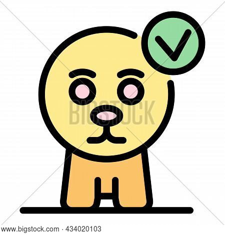 Cat Without Ears Icon. Outline Cat Without Ears Vector Icon Color Flat Isolated